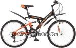 Велосипед 24 STINGER BANZAI (2х.подвес,18ск,рама сталь 14,торм.обод V-Brake) черный