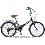 Велосипед 24'' TG-24 NOVATRACK ((складной, 6ск,торм.2 руч.,Shimano) 126782 черный