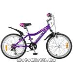 Велосипед 20'' NOVATRACK NOVARA (6-скор, TY21/TS38/SG-6SI, V-brake) 124569, фиолетовый