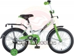 Велосипед 18 NOVATRACK STRIKE (ножной тормоз, цветные крылья, багажник черный) 126755 бело-зеленый