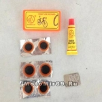Набор для ремонта шин №3 в маленьком пластиковом кейсе (6 заплаток, клей, шкурка) YP-3205