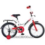 Велосипед 16 NOVATRACK STRIKE (торм.ножной, крылья и багажник черные) белый-красный, 124277