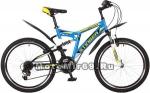 Велосипед 24 STINGER HIGHLANDER 100 V (2х.подв.,18ск,рама 14сталь,торм.V-br) синий