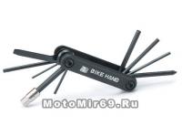 Набор инструментов BIKE HAND YC-274 складной: шестигранники 2/2.5/3/4/5/6/8, отвёртки +/-, Т25