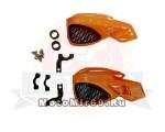 Защита рук CTG-10 пластик, крепеж универсальный, типа КТМ С РЕШЕТКОЙ (оранжевый/черный)