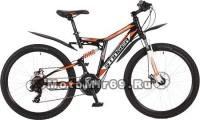 Велосипед 26 STINGER HIGHLANDER 200D (2х.подв.18 ск,рама сталь18,торм.Disc TY500/TY300/TS38)черный