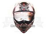Шлем кроссовый YM-911-1 YAMAPAсо СТЕКЛОМ, размер M,БЕЛЫЙ с красной граф. с череп.(СНЯТ С ПР-ВА)