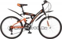 Велосипед 24 STINGER BANZAI (2х.подвес,18ск,рама сталь 16,5,торм.обод V-Brake) черный