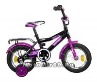 Велосипед 12 NOVATRAСK COSMIC (тормоз нож,крылья,багажник хром,доп.колеса) синий