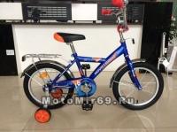 Велосипед 14 NOVATRACK TWIST (1ск,тормоз нож, крылья цвет, багажник хром.) 117033 синий