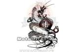 Татуировка временная (набор) 312 (легко наносится (30 секунд) Черно-белый китайский дракон с шаром