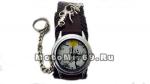 Часы наручные с цепью и изображением мультяшного скелета (коричневый кожаный ремешок)