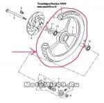 Обод 17 передний литой Nitro 1,4-17 №22 стандарт Nitro черн диск. торм. 5 отв. (6и луч)(5 луч)