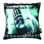 Подушка декоративная с логотипом известных брендов (из флиса с изображением спины девушки)