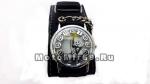 Часы наручные с двухяурсной цепью и изображением мультяшного скелета (черный кожаный ремешок)