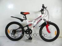 Велосипед 20 NOVATRACK SHARK (Х44098-К) (2х.подвес,6ск,рама сталь,Vbr) 117084 белый