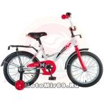 Велосипед 12 NOVATRACK STRIKE (ножной тормоз, цветные крылья, багажник черный) 125956 бело-красный