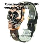 Часы наручные с циферблатом в форме бронзового черепа (коричневый кожаный ремешок)