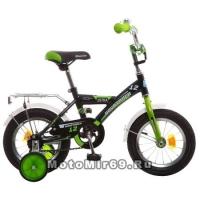 Велосипед 12 NOVATRAСK ASTRA (защита А-тип, крылья и багажник хром.,доп.колеса) черный